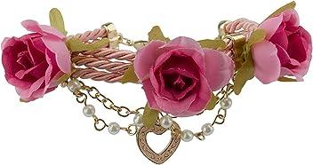 SIX Armband: Romantischer Armschmuck mit Rosen, Kordeln, Anhängern und Perlen, perfektes Accessoire für Hochzeit/JGA/Volksfest, Gold/rosa (460-897)