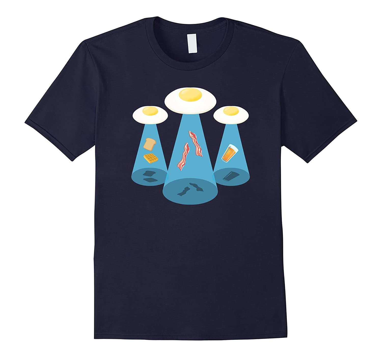 Alien Breakfast T-Shirt, Space UFO Breakfast Tee Apparel-T-Shirt