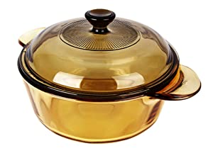 Visions 1.25L Heat Resistant Amber Round Glass Ceramics Kitchen Cookware Multipot Dutch Oven Stockpot Cook Stock Pot with Lid