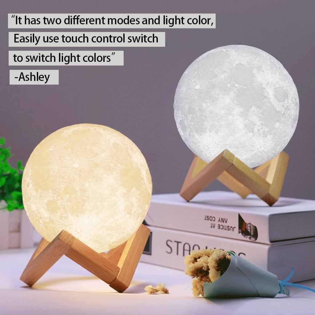 ACED Moon Light, 3D Printing LED Moon Lamp Large, Touch Control, Ajustable Brightness, USB Recharge, Seamless Lunar Moon Night Light Lamp with Stand for Bedrooms, Mother's Day Gift, 7.1Inch by ACED (Image #4)