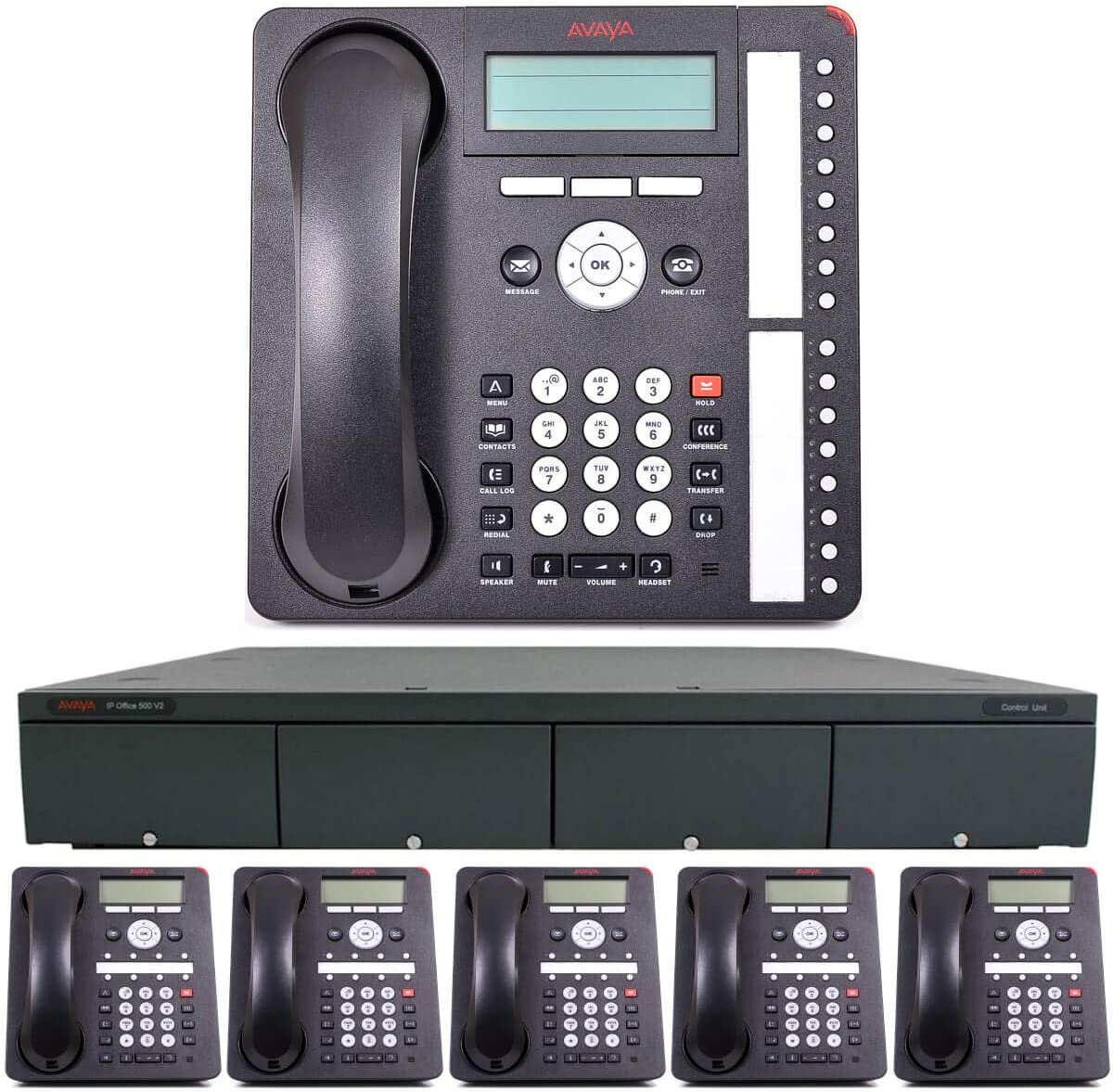 Avaya IP Office Phone System: Basic Digital Edition - & 1 Year of Free Telco Depot Dialtone Service (6 Phone Bundle)