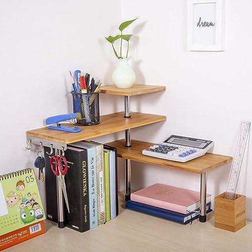 Olive Desktop Organizer Office Kitchen Corner Shelf Unit Adjustable Bamboo Storage Rack, Freestanding Display Shelf