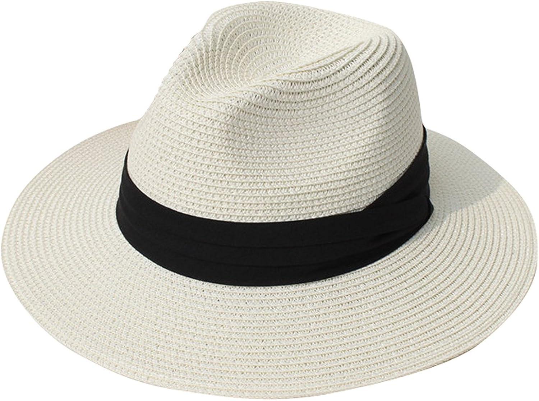 DRESHOW Damen Breiter Krempe Stroh Sommer Panama aufrollen Hut Fedora Strand Sonnenhut UPF 50