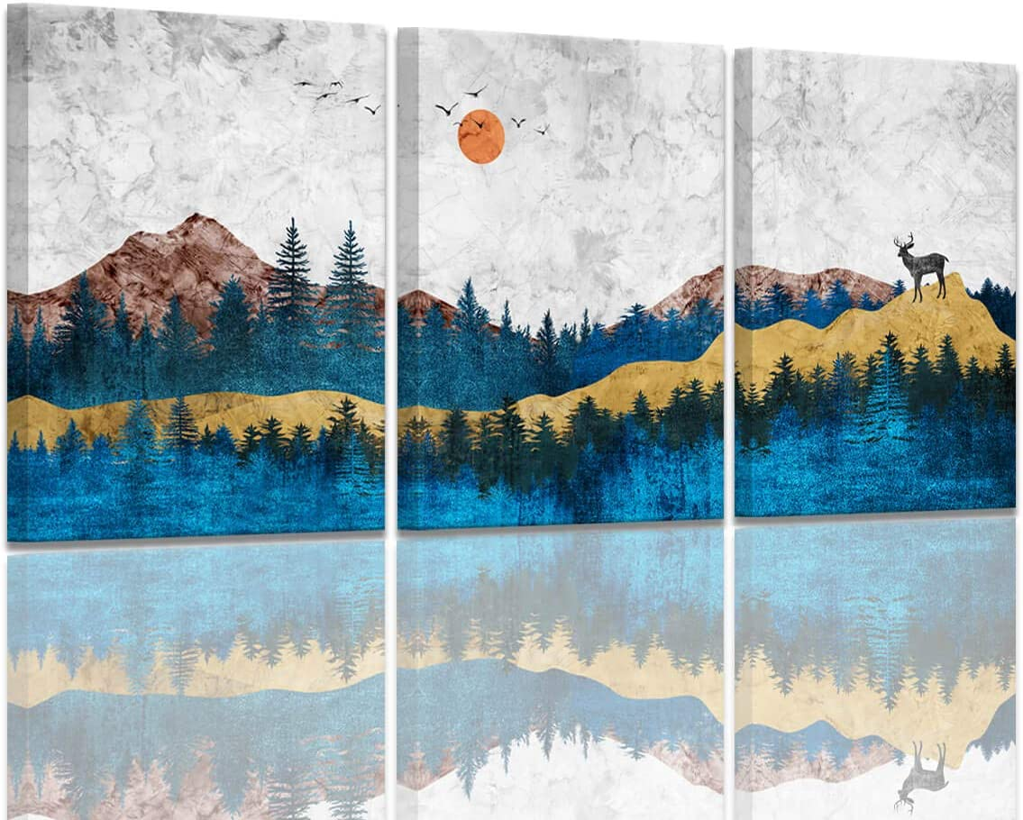 Foggy Forest Mountain Wall Art Abstract Landscape Canvas Pictures Modern Watercolor Canvas Artwork Conemporary Wall Art Prints for Bedroom Bathroom Living Room Wall Decor 30 x 40cm x 3 Pieces