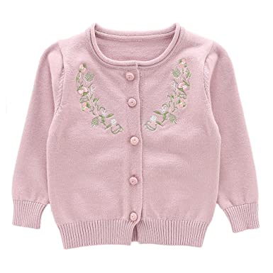 ac15c0ef2facbb Moonnut Girls Cardigan Sweaters Floral Embroidered Long Sleeve Knitted  Outwear (2T