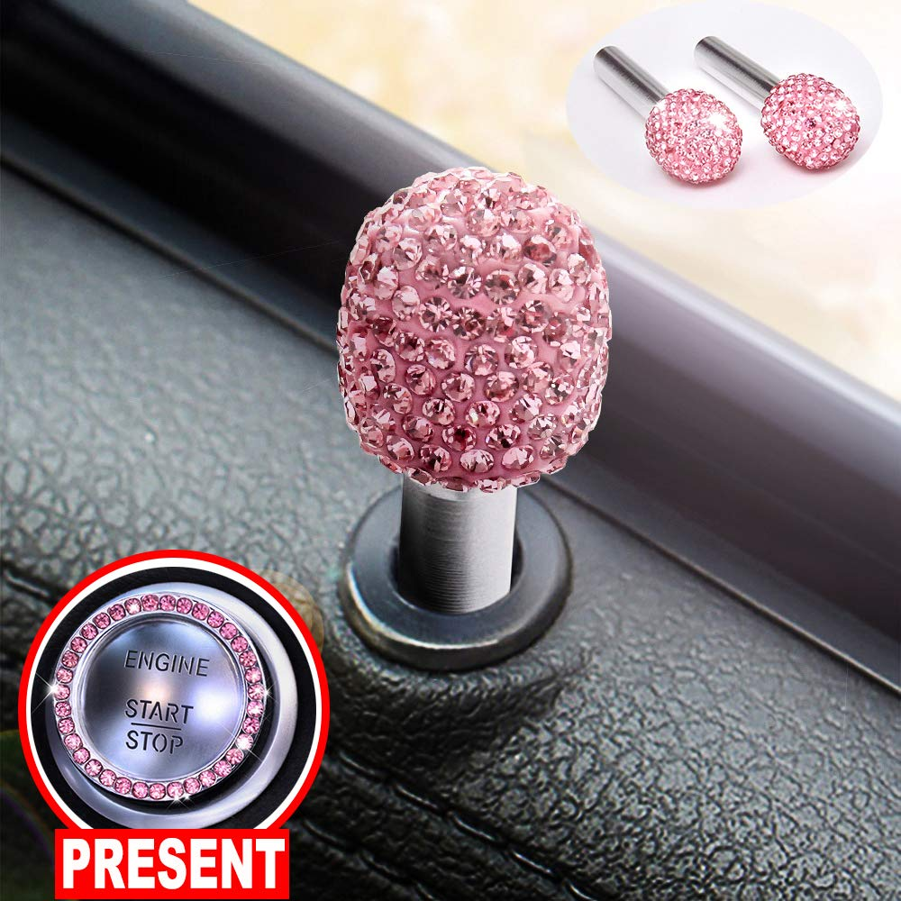 U/&M 2pcs//Set Bling Car Door Lock Pull Rod Bolt Cover Interior Trim Rhinestones Bling Car Accessories for Women Universal Fit White