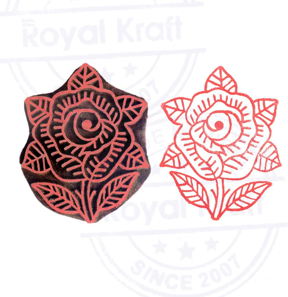 DIY Henna Fabric Textile Paper Clay Pottery Block Printing Stamp Indian Floral Pattern Leaf Wooden Printing Block