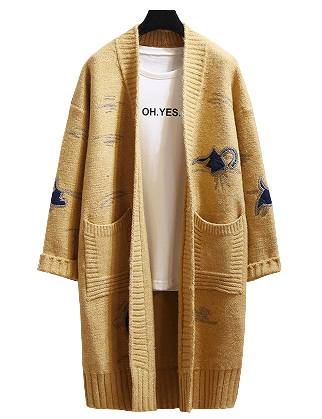 Uaneo Womens Thick Warm Casual Loose Embroidered Long Sleeves Open Front Knit Cardigan Sweater