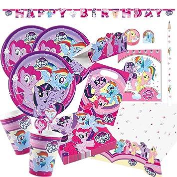 37-teiliges Party-Set My little Pony 2017 Teller Becher Servietten Tischdecke f/ür 8 Kinder