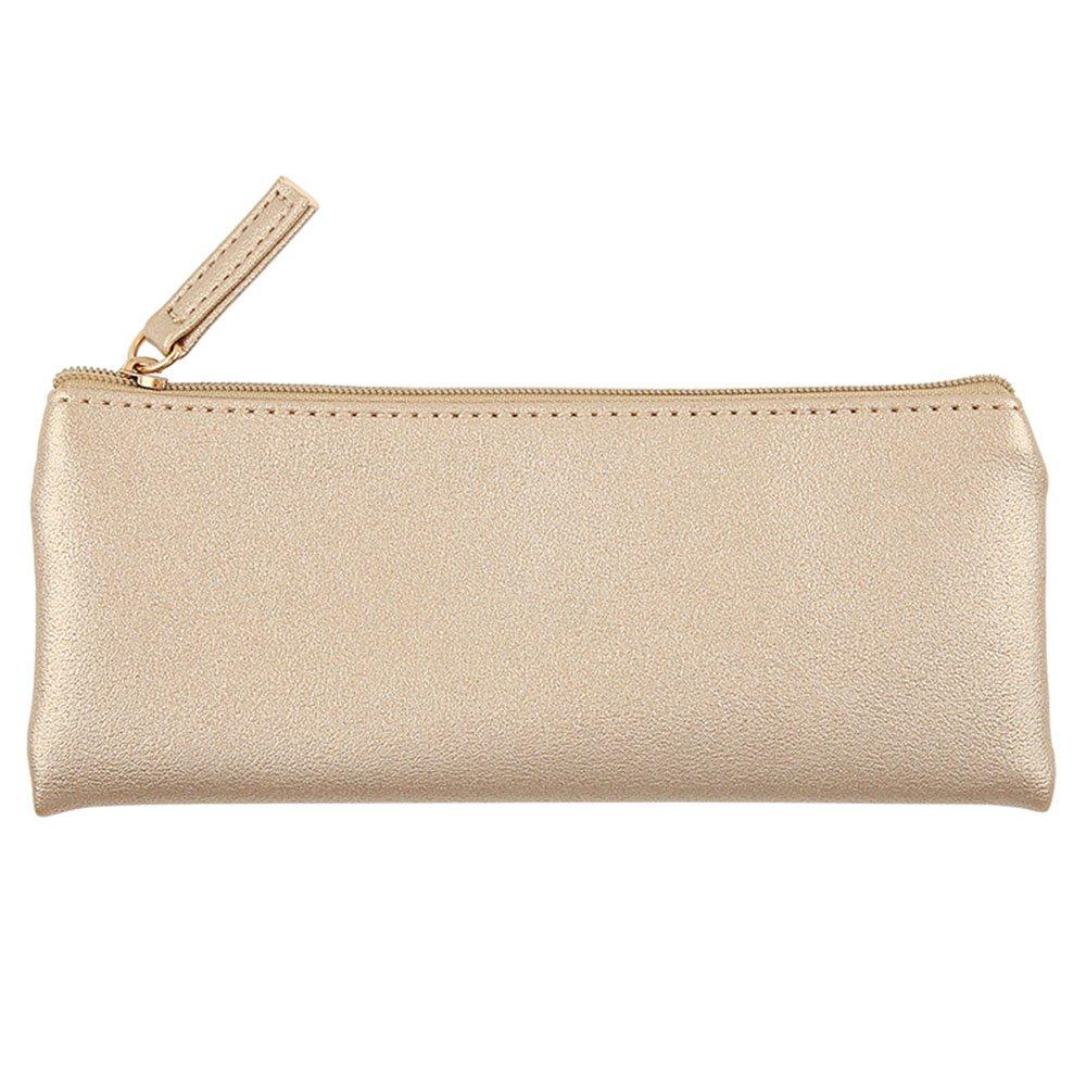 Minimalist Soft PU Leather Pencil Case Handy Travel Organizer Purse Pouch Makeup Bag Black YHY
