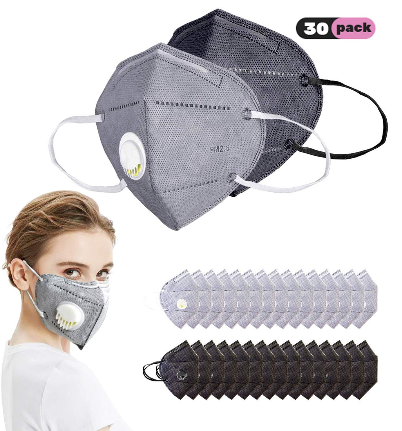 DELUX N95 Particulate Respirator Mask, 30 Pack Disposable Dust Mask with Exhalation Valve and 6-Layer Activated Carbon Air Filter for Construction, Home, Traffic Dust, Allergy, Mowing