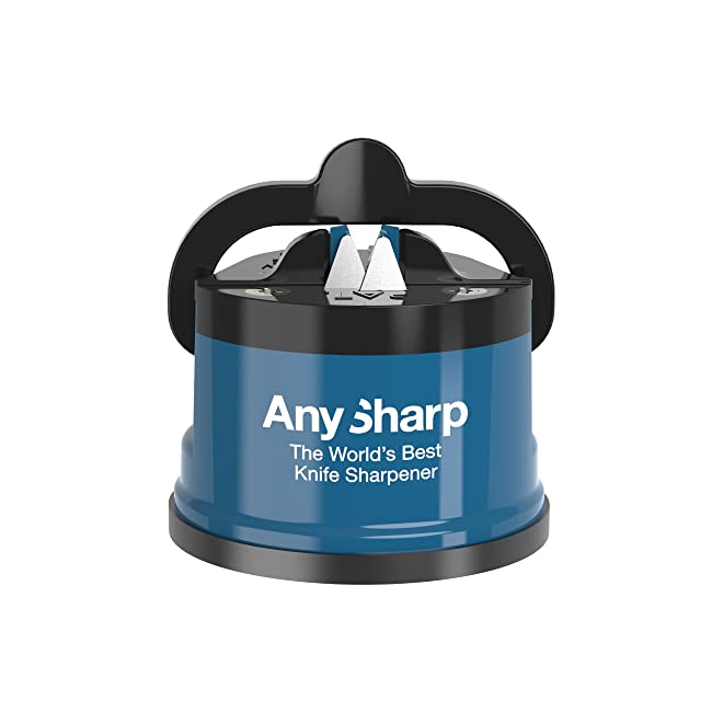 AnySharp Knife Sharpener with PowerGrip, Blue