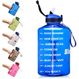 SLUXKE 1 Gallon Water Bottle with Straw and Motivational Time Marker, Large 128OZ Silicone Straw Water Bottle BPA Free…