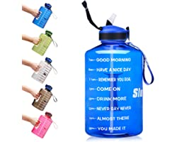 SLUXKE Gallon Water Bottle with Straw and Motivational Time Marker Easy Sipping Leakproof BPA Free 128OZ/74OZ Large Fitness S