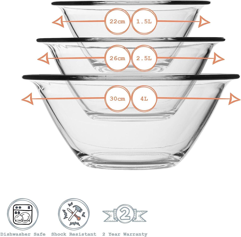 Bormioli Rocco 3pc Sr Heavy Duty lavavajillas y microondas 3 Tama/ños Chef de cristal de la jerarquizaci/ón del recipiente de mezcla Set