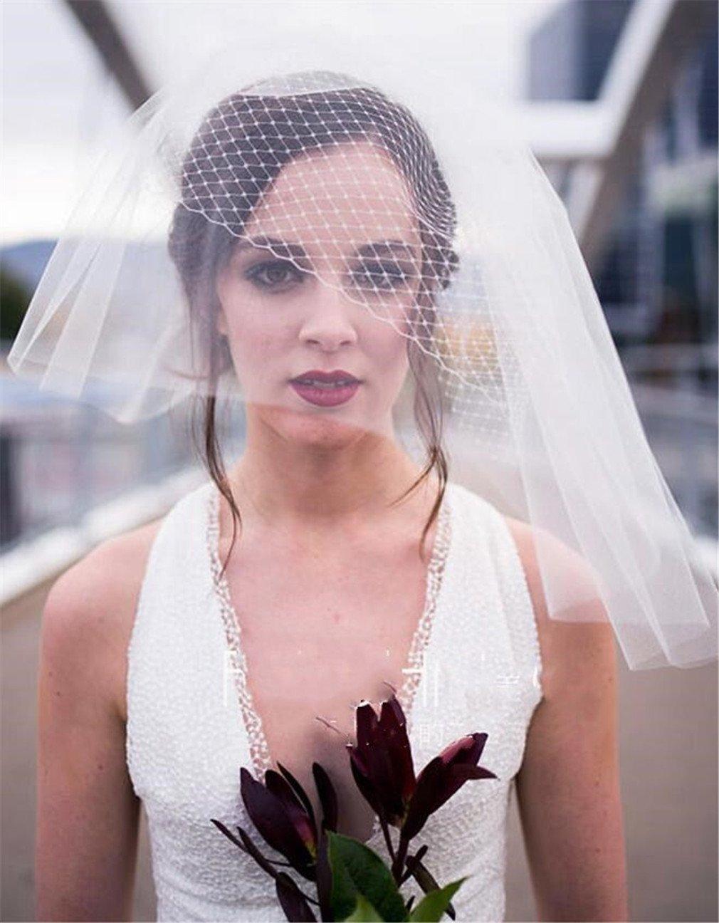 Amazon.com: ELEGENCE-Z Bridal Veil Simple Mesh Short Bird Nest ...