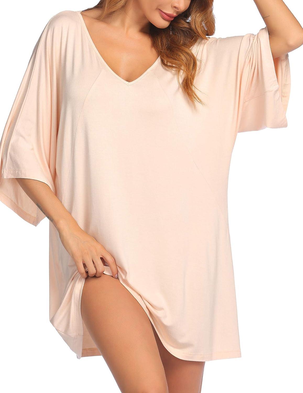 Ekouaer Womens Short Sleeve V-Neck Nightgown Soft Sleeping Shirts Loungewear Nightshirts