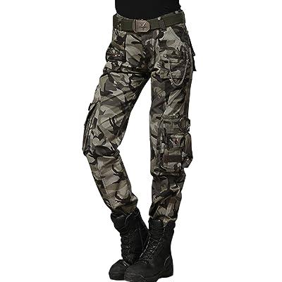 3f882c1134b Chouyatou Women s Casual Loose Military Multi-Pocket Wild Ribstop Cargo Pant