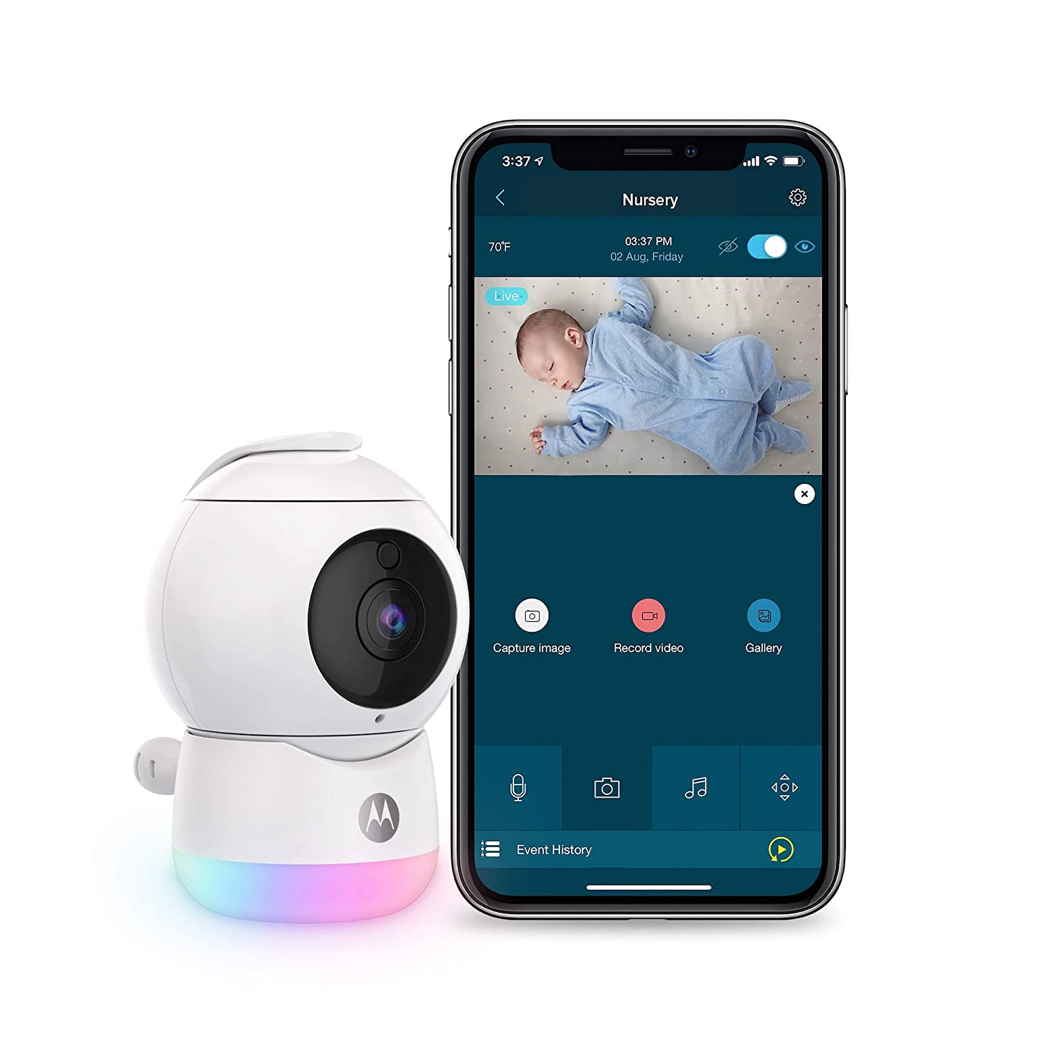 Motorola Peekaboo Video Baby, Elderly, Pet Monitor with Night Light - Portable Camera with Two-Way Audio - 1080p, Wide Angle View, Night Vision - Remote Pan Scan, Digital Zoom, Tilt