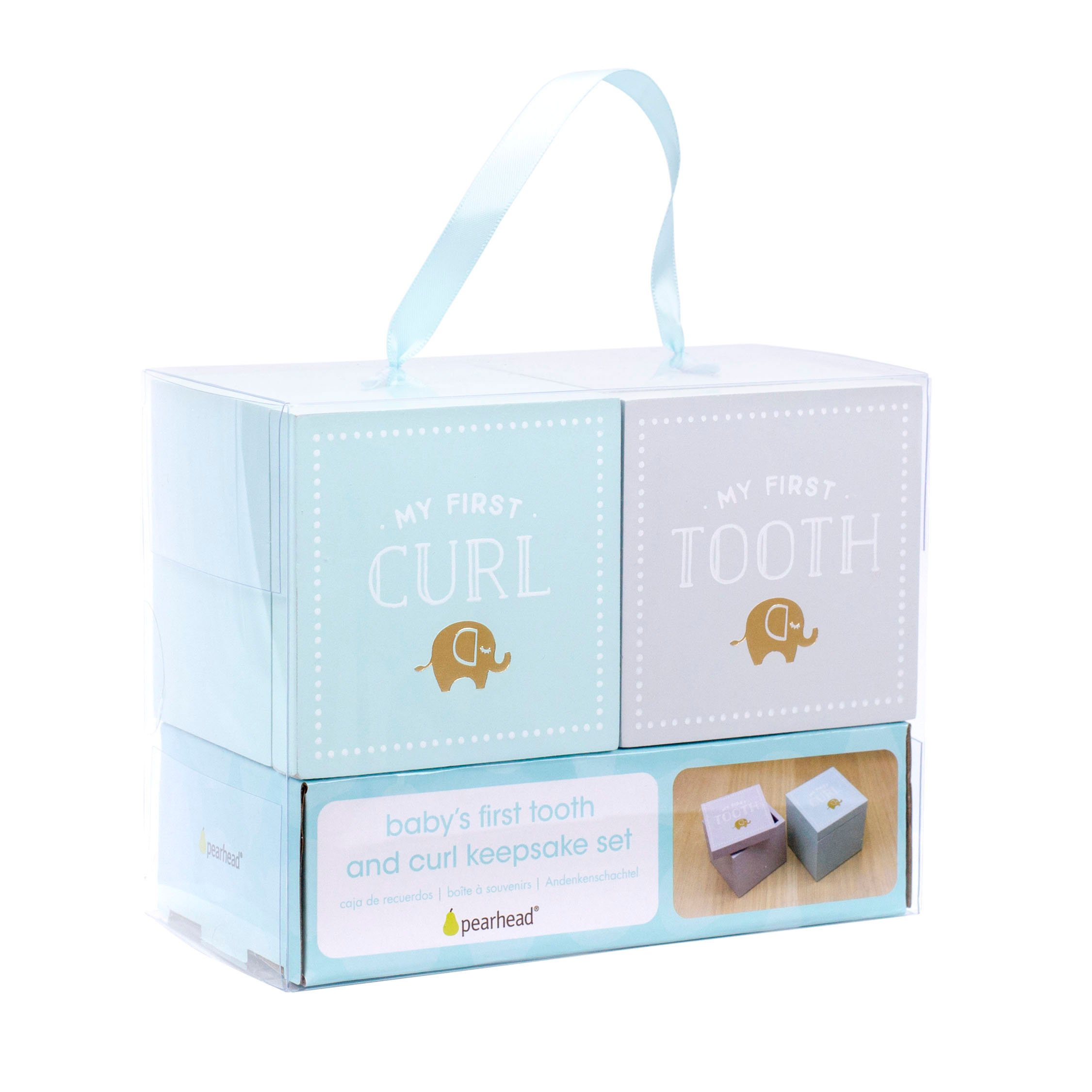 Pearhead Baby's First Tooth and Curl Wooden Keepsake Box Set, Mint/Gray