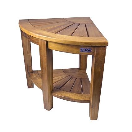 Amazon.com : SeaTeak 60025 Shower & Spa Corner Seat-Oiled Finish ...