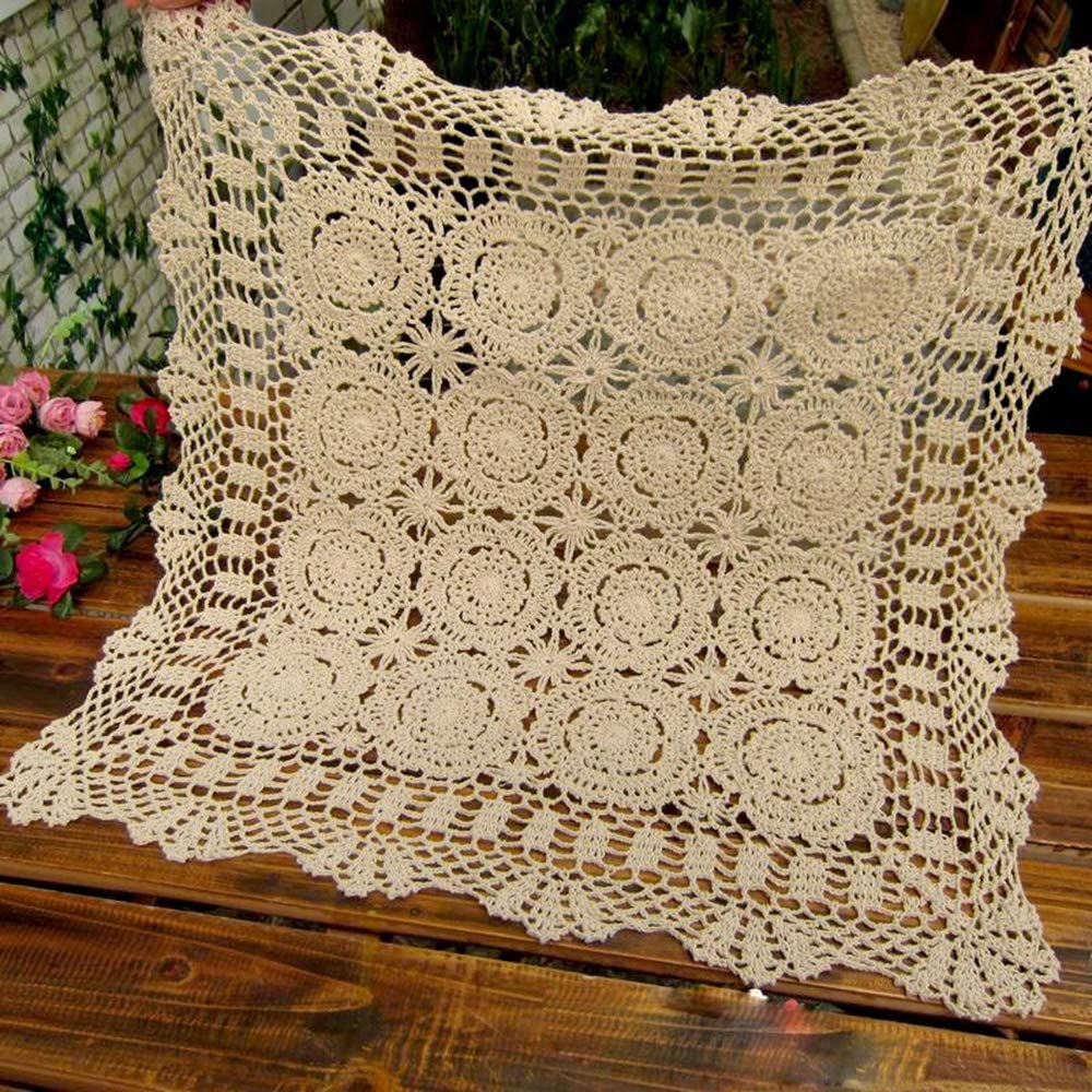 Hetao 100% Cotton Handmade Crochet Square Tablecloth Doilies Lace Table Covers,Beige, 27 Inch