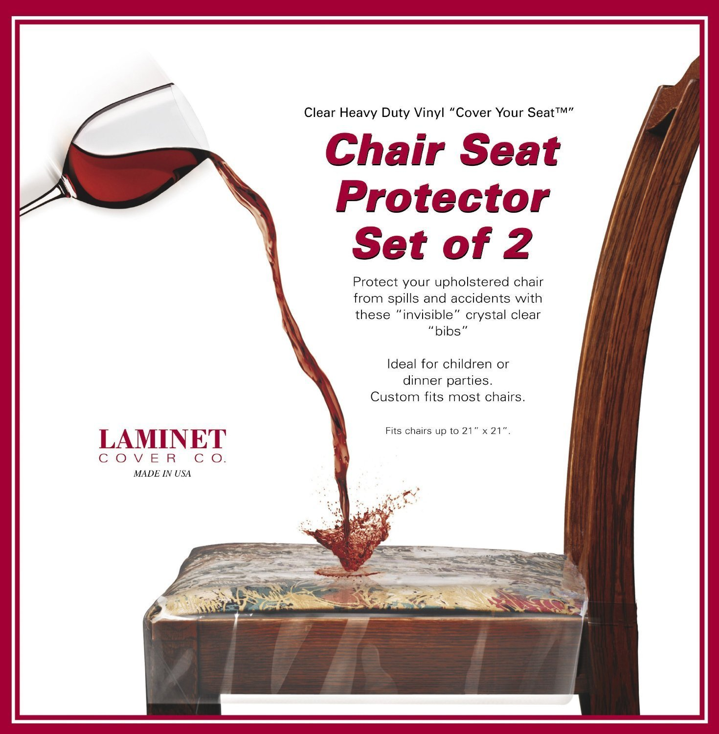 LAMINET Vinyl Chair Protectors, Clear, 26X253/4-Inch, Fits Chairs up to 21x21-Inch, Set of 2 LAMINET COVER COMPANY CSC1-2