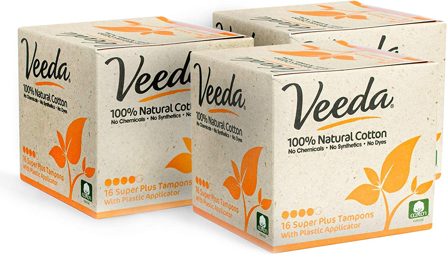 Veeda 100% Natural Cotton Compact BPA-Free Applicator Tampons Chlorine, Toxin and Pesticide Free, Super Plus, 3 Boxes of 16 Count Each