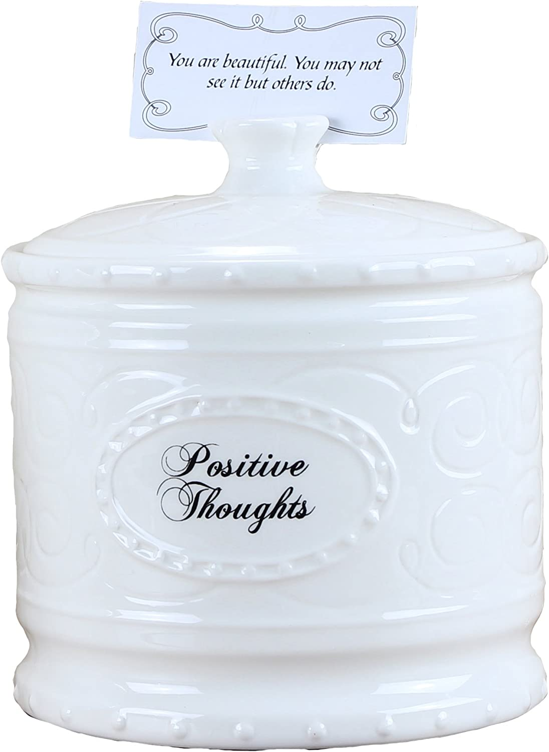 """Young's 6.25"""" Ceramic Jar with 365 Positive Thoughts"""