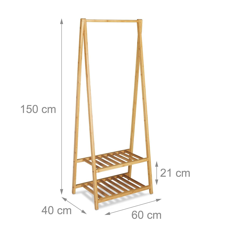 Relaxdays Kleiderstander Bambus 2 Schuhablagen Kleiderstange