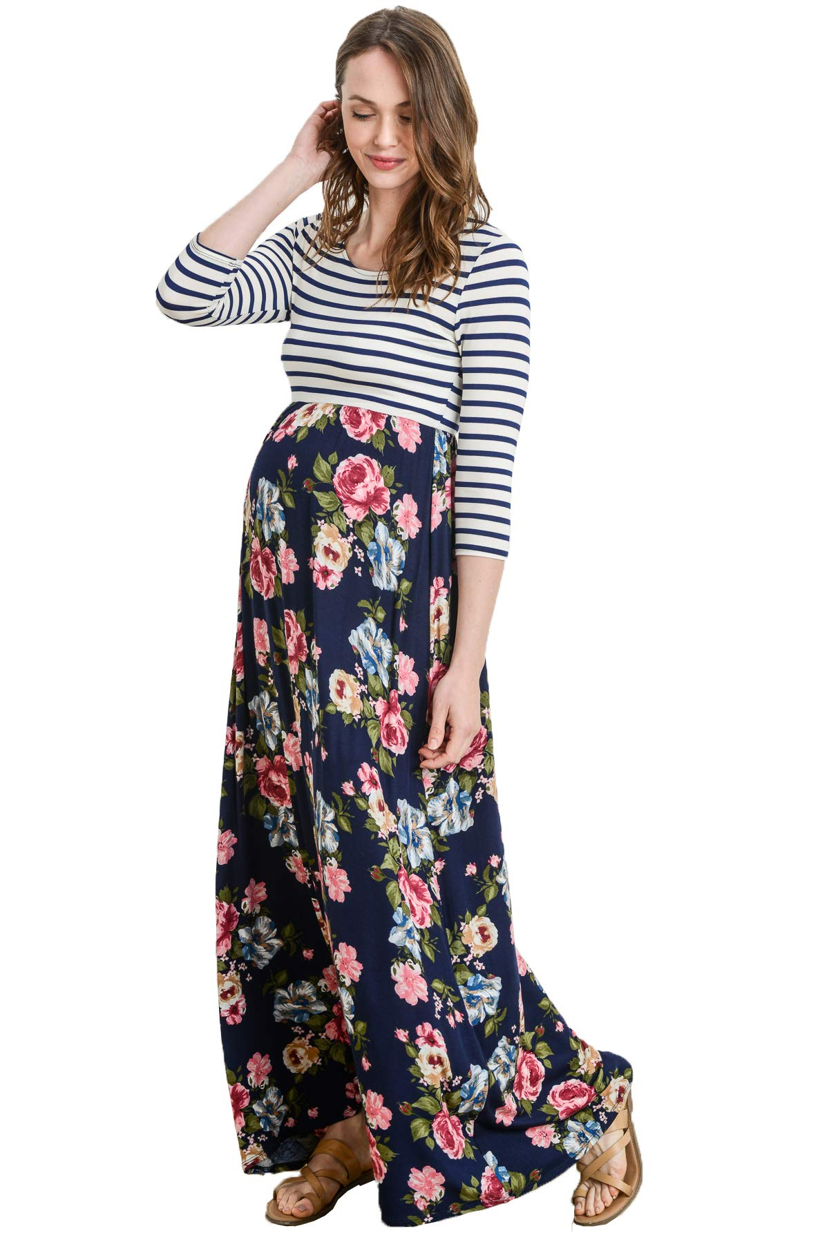 Hello MIZ Women's Floral Color Block Stripe Maxi Maternity Dress - Made in USA (Navy/Pink Flower, L)