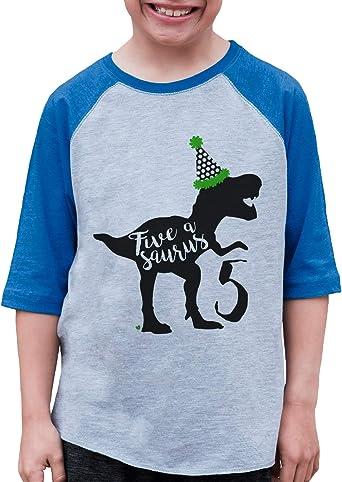 7 ate 9 Apparel Kids Five Dinosaur Birthday Blue Raglan Tee