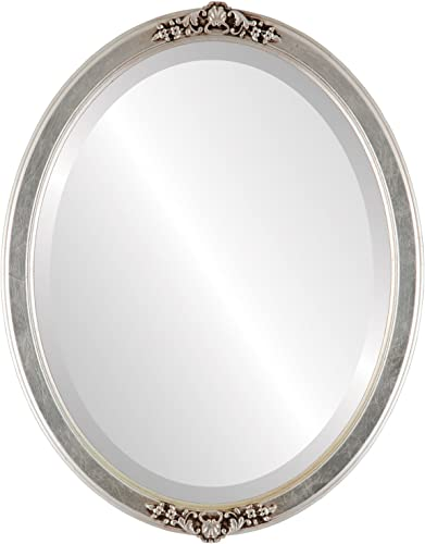 Oval Beveled Wall Mirror for Home Decor – Athena Style – Silver Leaf with Brown Antique – 22×26 Outside Dimensions