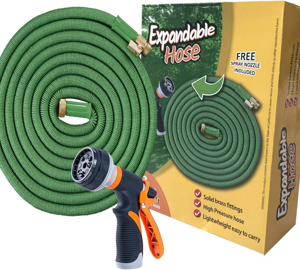 Expandable Garden Hose 100 Ft Long | Heavy Duty Water Hose | Expanding Hose | Free Garden Hose Nozzle | Retractable Hose for Gardening Flexible Water Hose with Solid Brass Fittings Flex Hose