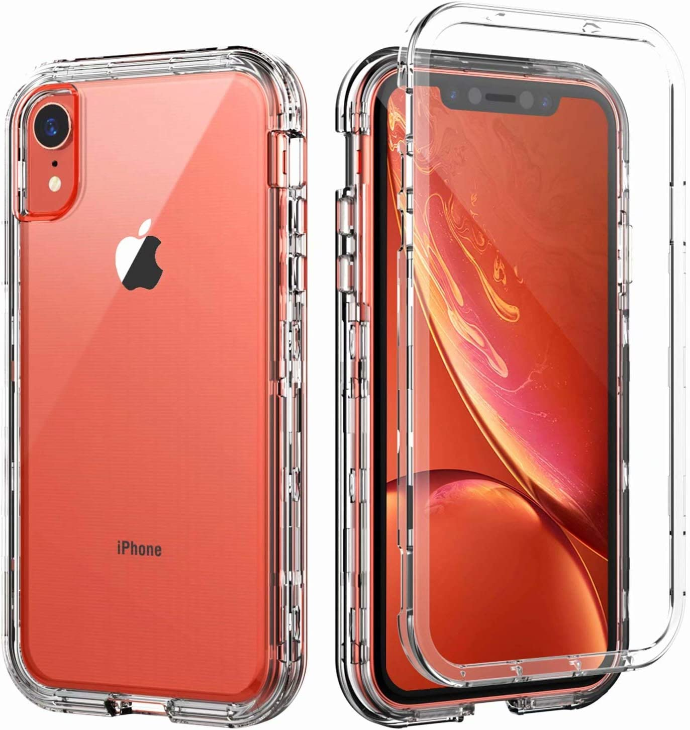 Amazon Com Skylmw Case For Iphone Xr Shockproof Three Layer Protection Hard Plastic Soft Tpu Sturdy Armor Protective High Impact Resistant Cover For Iphone Xr 2018 6 1 Inch For Men Women Girls Boys Clear