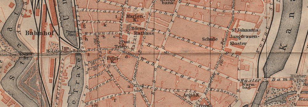 BAEDEKER 1904 map LÜBECK antique town city stadtplan Schleswig-Holstein karte