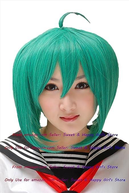 Nueva moda caliente Sexy verde recta Anime Cosplay Pelucas Fiesta Mascarada Niñas 30 cm