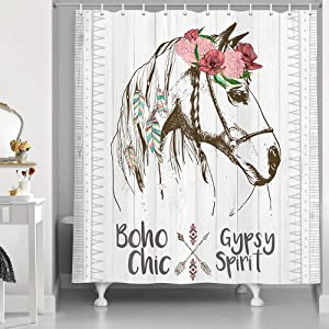 Western Decor Horse Shower Curtain, Floral Horse on Rusitc Woodern Boards Bath Curtains, Farmhouse Boho Gypsy Chic Spirit Bathroom Decorations, 69X70Inches