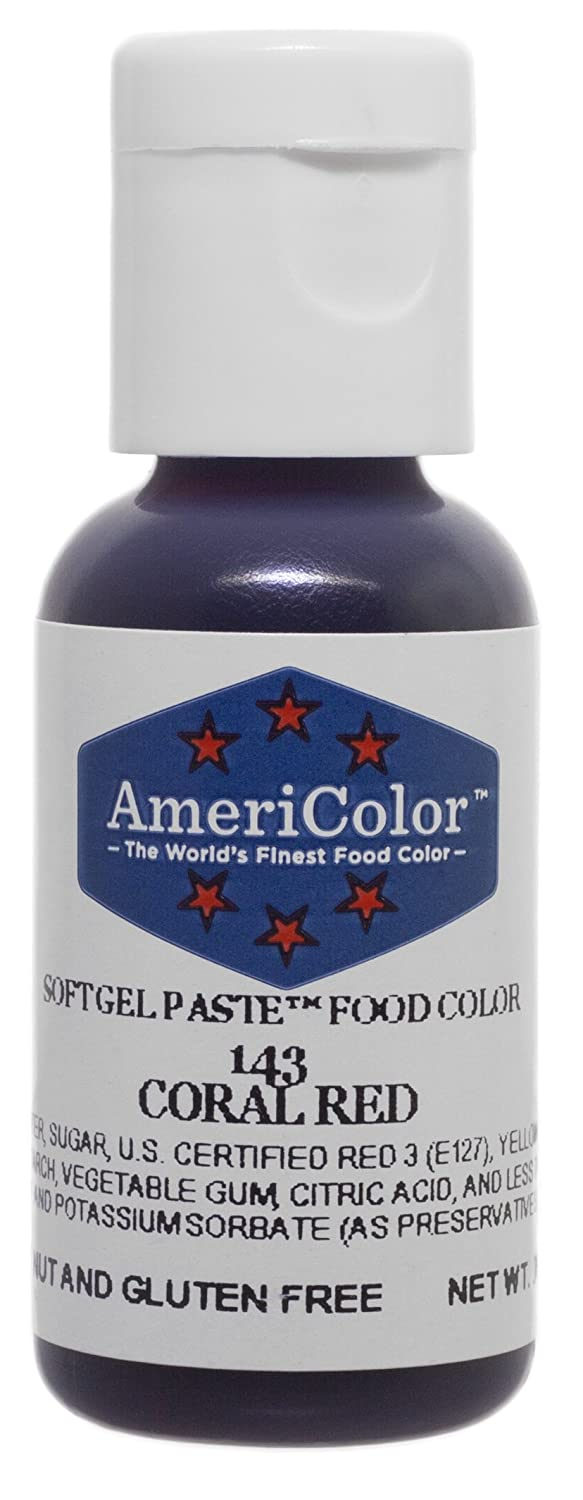 AmeriColor Food Coloring, Coral Red Soft Gel Paste, .75 Ounce Bottle Food Color