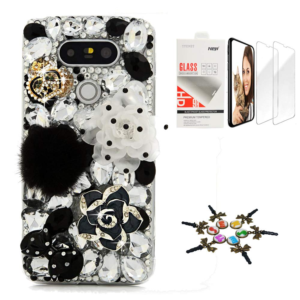 STENES Bling Case Compatible with LG Aristo 3 / LG Tribute Empire - Stylish - 3D Handmade [Sparkle Series] Camellia Flowers Crown Polka Dot Bowknot Cover with Screen Protector [2 Pack] - Black&White