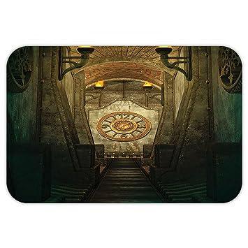 VROSELV Custom Puerta matgothic casa decoración Medieval Secreto Paso con Linterna y Golden Reloj de Pared