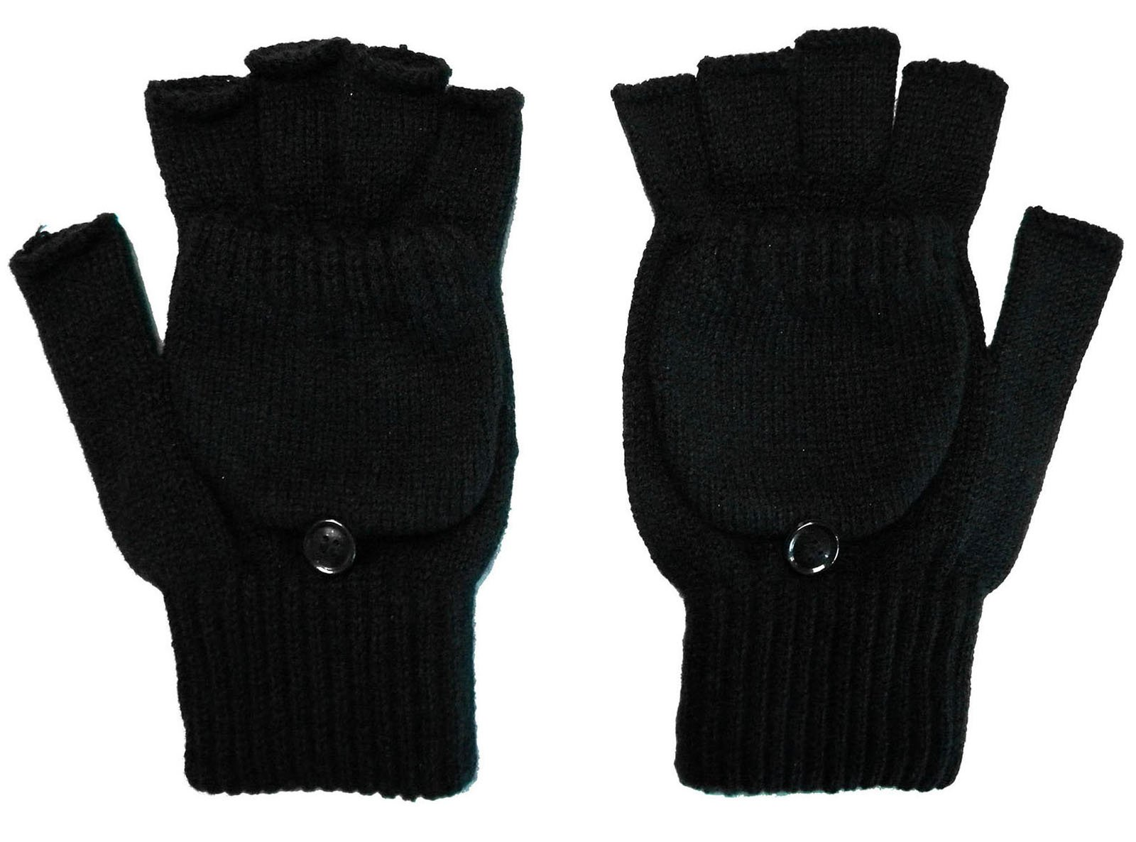 Womens Mens Winter Warm Knitted Convertible Fingerless Gloves W/Mitten Cover
