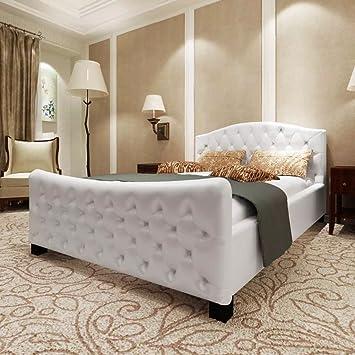 WEILANDEAL Cama Doble con colchon viscoelastico Blanca 180x200 cm Camas Altura de la Cama Desde el Suelo: 38 cm: Amazon.es: Hogar