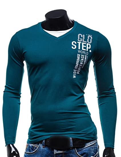 Amazon.com: Mens Pullover V Neck Cotton Slim Fit Long Sleeve T-shirt: Clothing