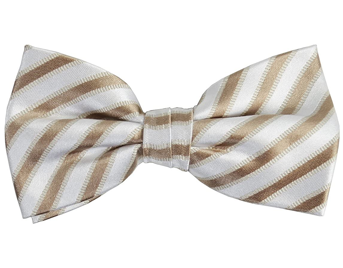 Paul Malone Silk Bow Tie Tan and White