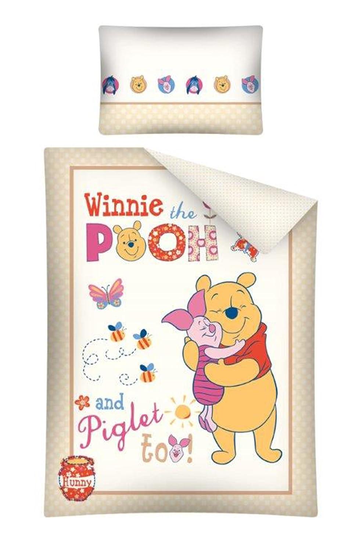 Winnie Pooh Baby Bettwäsche Garnitur 100 x 135 / 40 x 60 cm NEU & OVP *ecru* DP