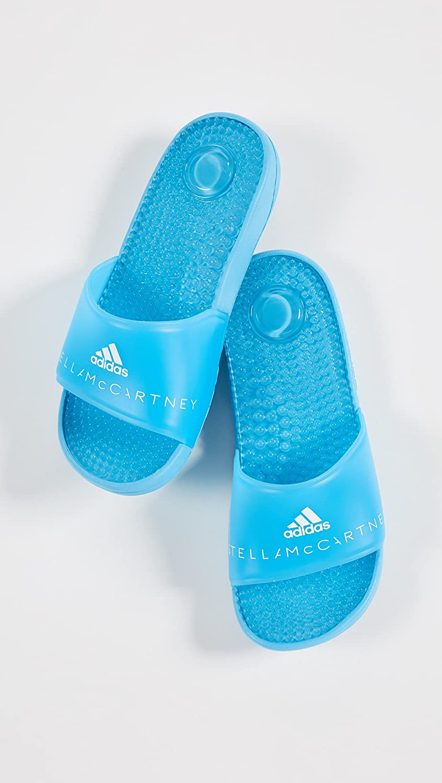 adidas by Stella McCartney Women's Adissage W Slides B078ZKH2YL 4 M UK|Mirror Blue/Mirror Blue/White