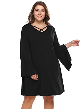 1ead0a99652 IN VOLAND Plus Size Women Long Petal Sleeve Strappy V Neck Flowy A-Line Tunic  T-Shirt Dress at Amazon Women s Clothing store