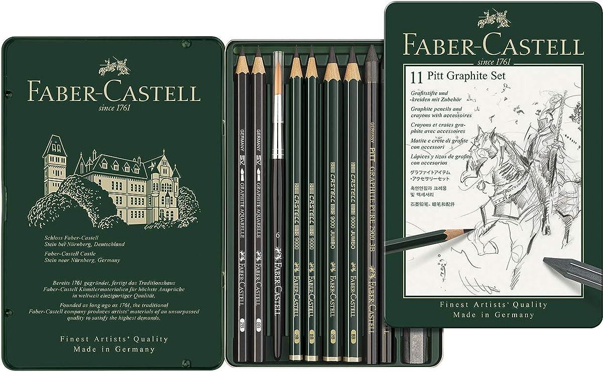 Faber-Castell 112972 - Estuche de metal con 11 piezas, ecolápices Castell 9000, barras de grafito, grafitos puro y accesorios, monocrome: Amazon.es: Oficina y papelería