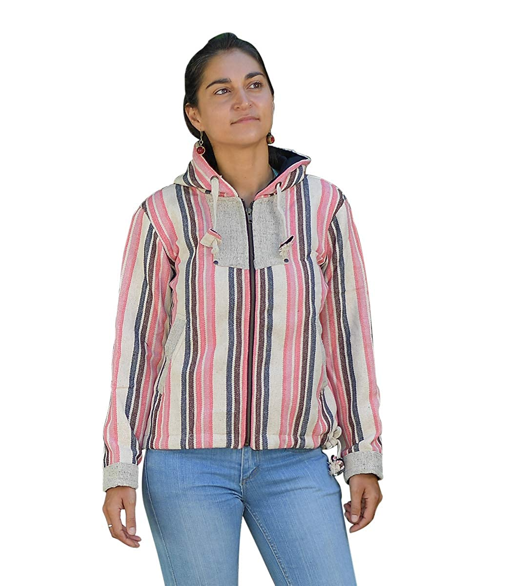 virblatt - Baja Hoodie Ladies Hippie Jacket Ethno Jacket Mexican Baja Hoodie - Tibet at Amazon Womens Clothing store: